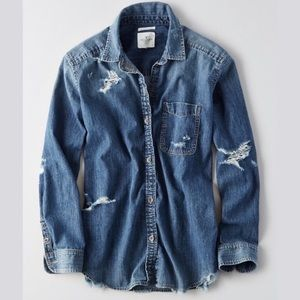 American Eagle Oversized Fit Distressed Denim Top